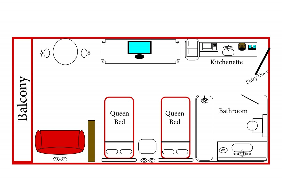 Floorplan for Standard View Two Queen Beds and Sofa